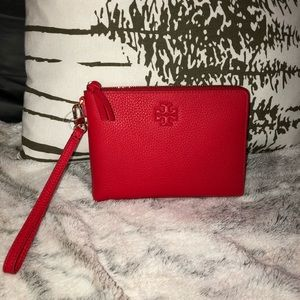 Tory Burch-Thea red large zip pouch-new